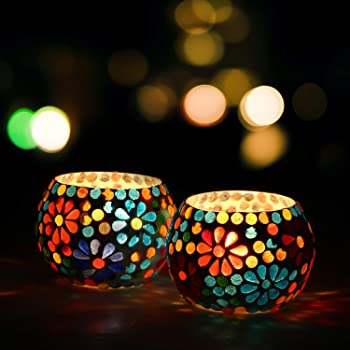 WebelKart Set of 2 Mosaic Glass TeaLight Votive Candle Holder with Tea Light Candles for Living Room Table Home Decor Indoor Outdoor Decorations (Multicolor, Glass)