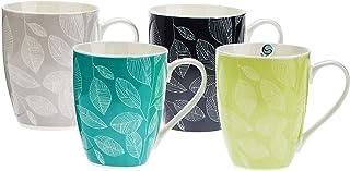 Symphony Leaves Mug Set of 4, Multicolor, 300 ml, Serves 4