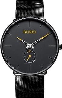 BUREI Men's Quartz Watch Black Minimalist Analog Ultra Thin Black Simple Style Classic Design