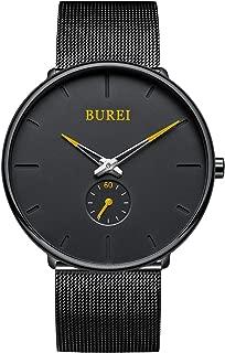 Men's Fashion Minimalist Wrist Quartz Watches with Stainless Steel Black Dial