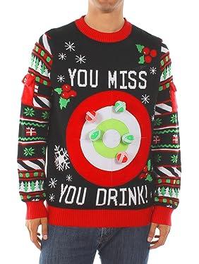 Suéter con juego de beber de Tipsy Elves, suéteres divertidos de Navidad, suéteres feos de Navidad