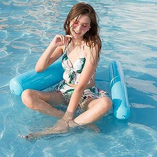 Echden Hamaca hinchable 4 en 1, colchón hinchable para piscina, 130 cm x 80 cm, colchón de aire para agua, piscina, protección del medio ambiente, hamaca de PVC para adultos y niños (azul)