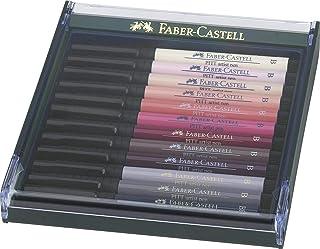 Faber-Castell AG267424 12-Pieces Pitt Artist Brush India Ink Pen, Brush Tip, Portrait