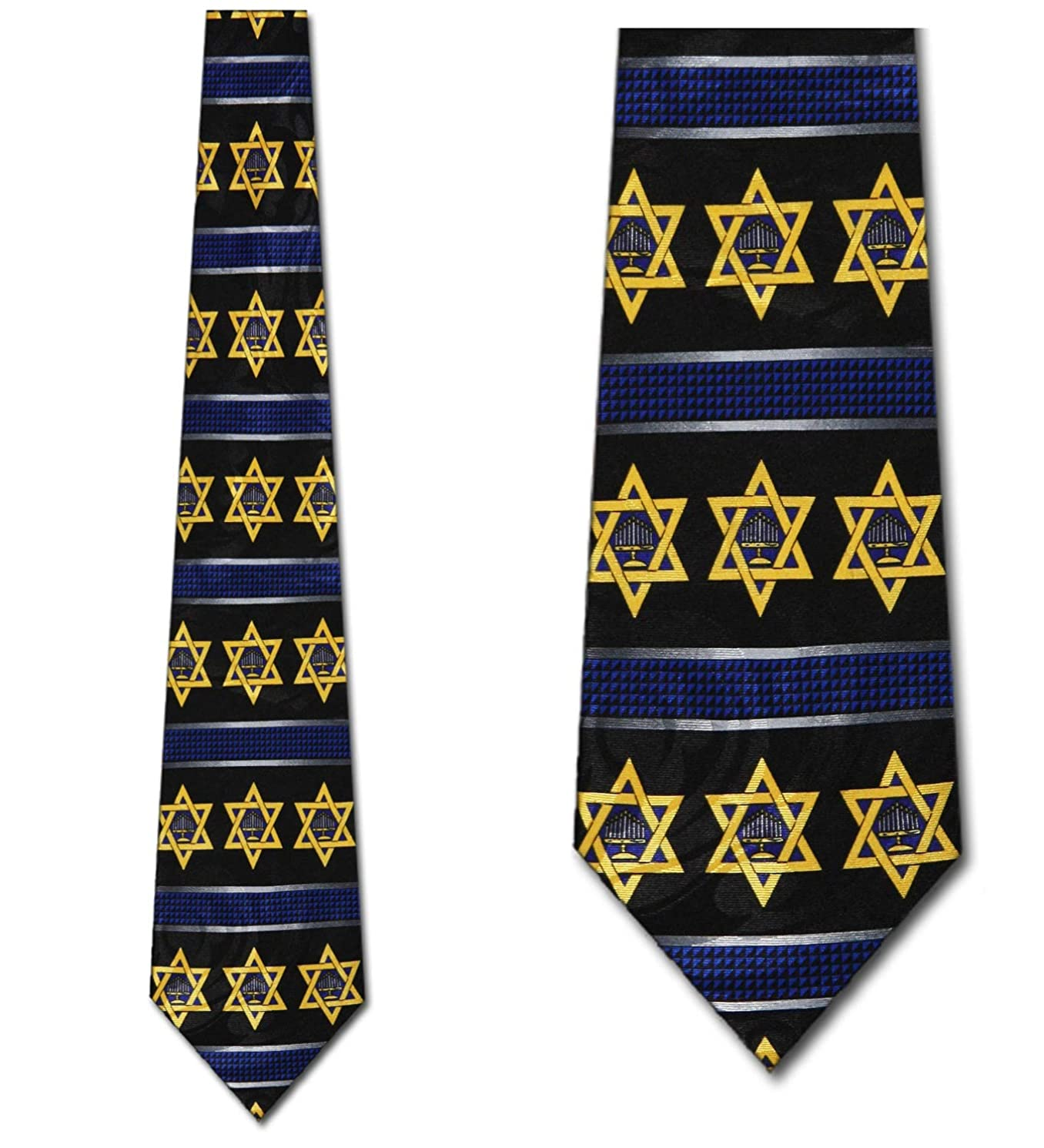 Menorah and Star of David Tie - Men's Hanukkah Necktie