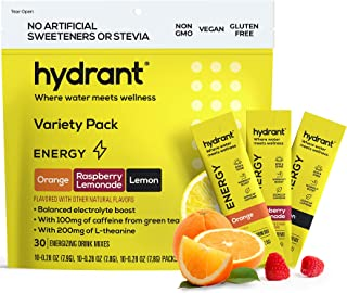 Hydrant Energy Variety 30 Stick Pack, Caffeine & L-Theanine Rapid Hydration Mix, Electrolyte Hydration Powder Packets with...