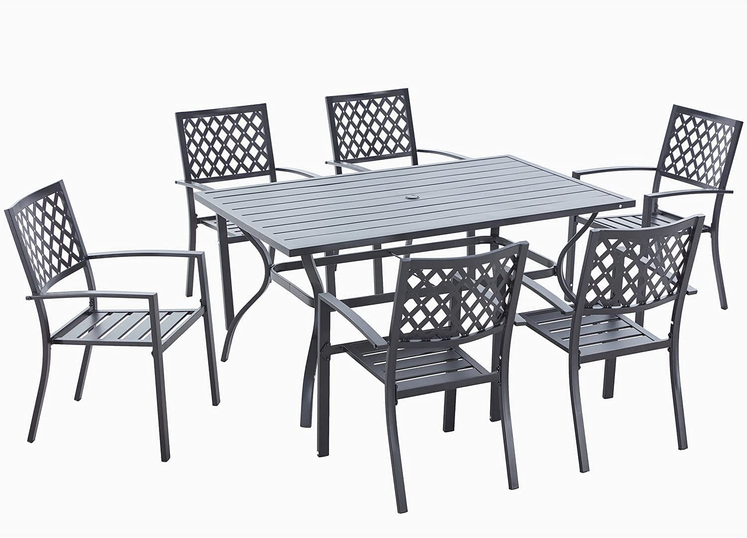 Popular 7-Piece Outdoor Patio Dining Portland Mall Furniture with Set Table Um