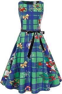 YOCheerful Party Dress Women Christmas Round Collar Vintage Dress Gift Plaid Santa Claus Elk Print A-Line Dress