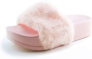 Women Faux Fur Strap High Platform Slip On Sandals (Adults)