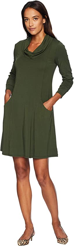 Cotton Modal Spandex Jersey Princess Seamed Cowl Neck Dress