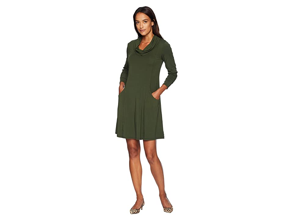 Mod-o-doc Cotton Modal Spandex Jersey Princess Seamed Cowl Neck Dress (Holly) Women