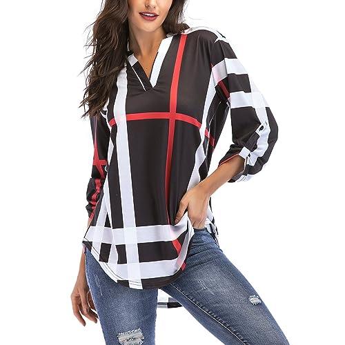 ec328341e85f St. Jubileens Women Roll-Up 3/4 Sleeve Plaid Shirt Tunic V Neck