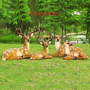 LSSLSS SimulacióN De La Escultura De Ciervo Sika, DecoracióN De CéSped En Forma De Ciervo, DecoracióN De Animales, Escultura De Ciervo En El Lago, ArtesaníAs De Resina,B-Male-Deer