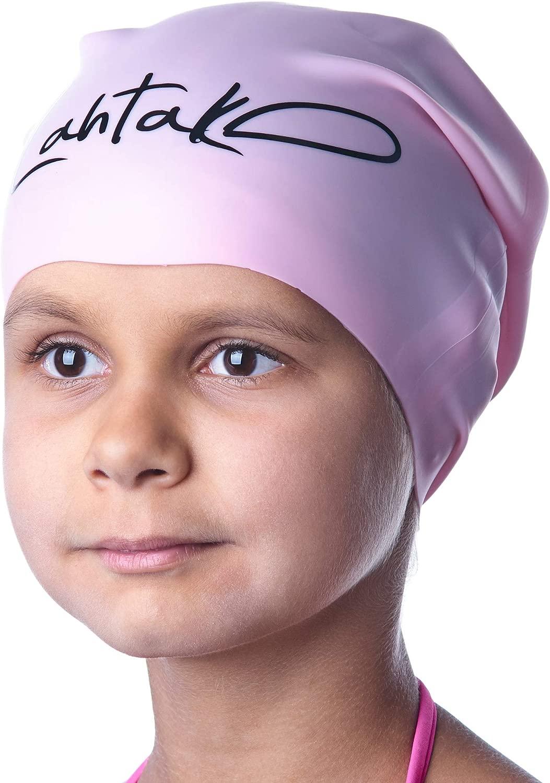 スイムキャップ キッズ ロングヘア – 女の子 男の子 キッズ 若者向け 長いカーリーヘアブレイド ドレッドロック – 100% シリコン 低刺激性 防水 スイムハット
