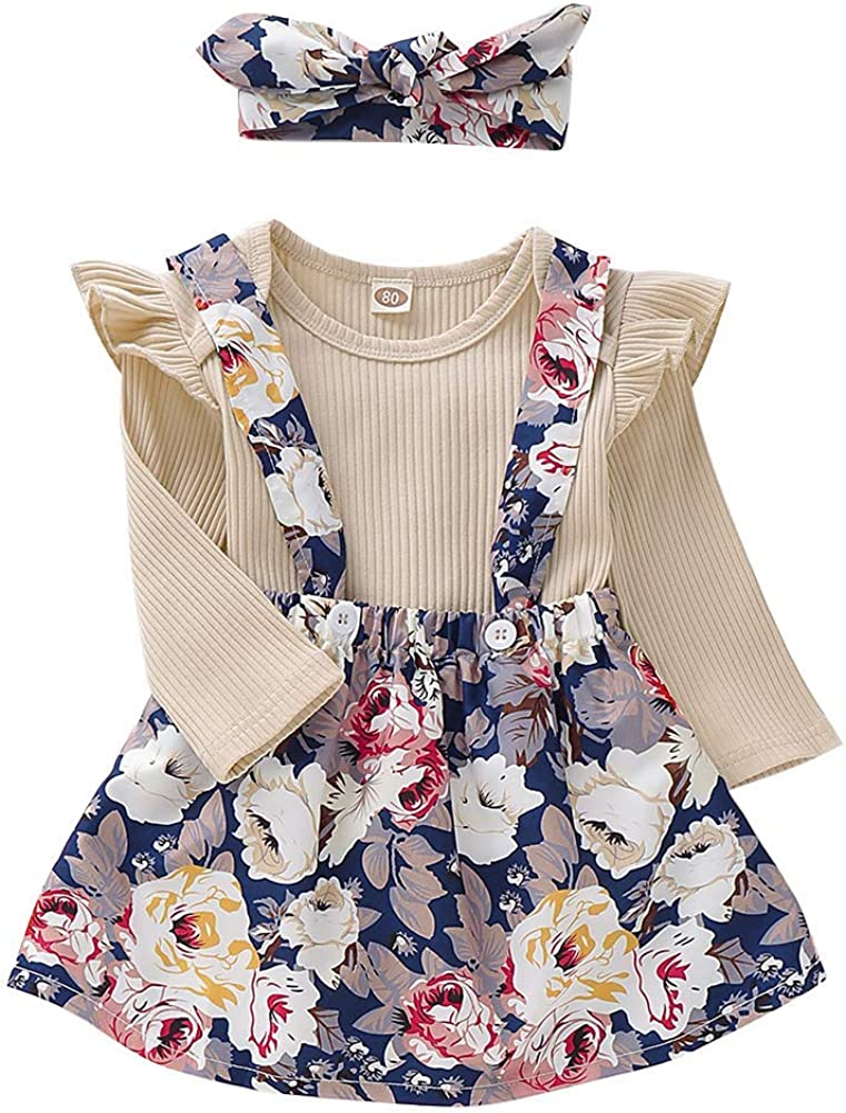Newborn Baby Girls Two Pieces Outfit Playsuit Flower Skirt Cloth