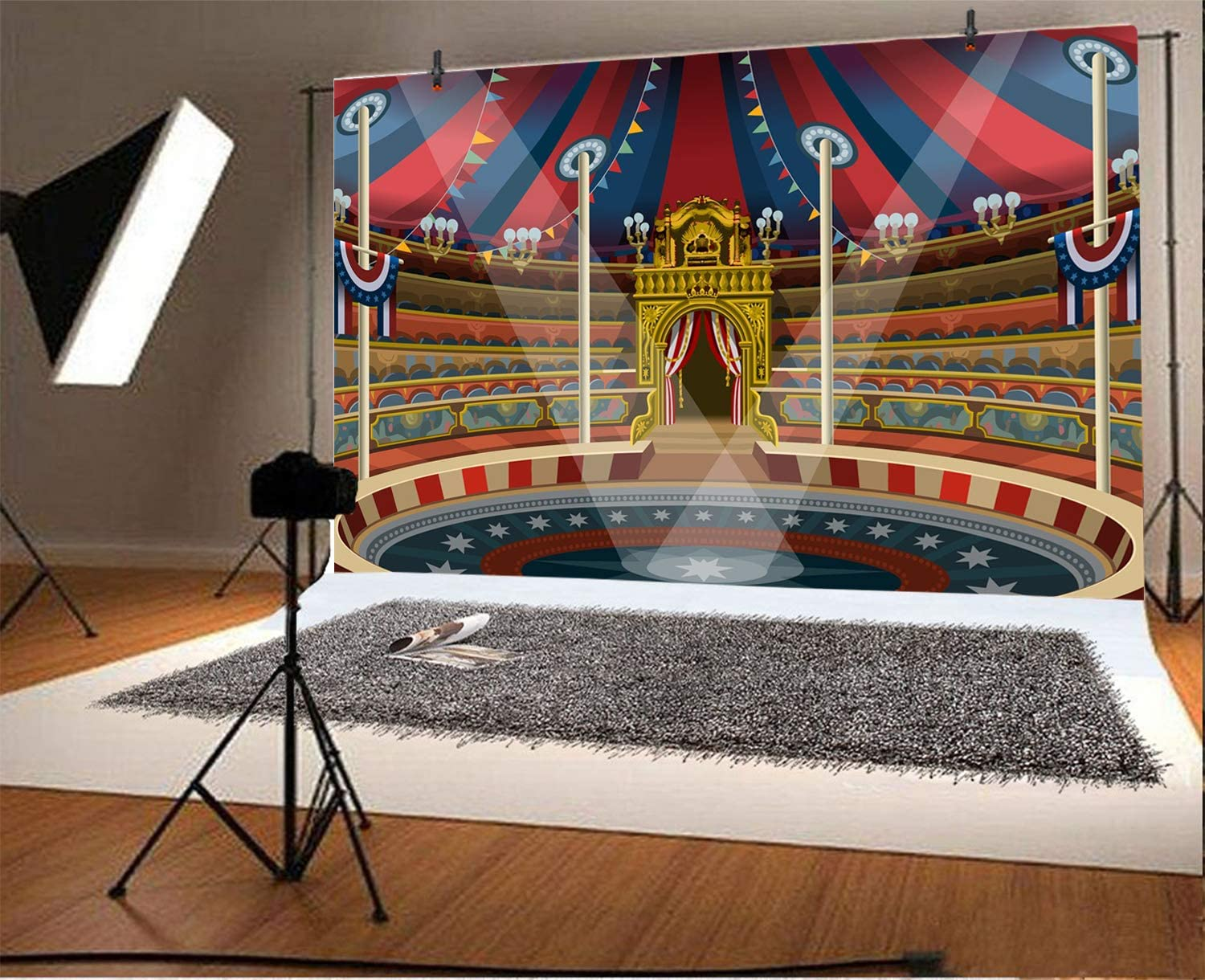 Yeele 10x8ft Circus Background for Photography Theatre Performing Tent Ribbon Photo Backdrop Birthday Baby Shower Party Decoration Boy Girl Portrait Booth Shoot Studio Props Wallpaper