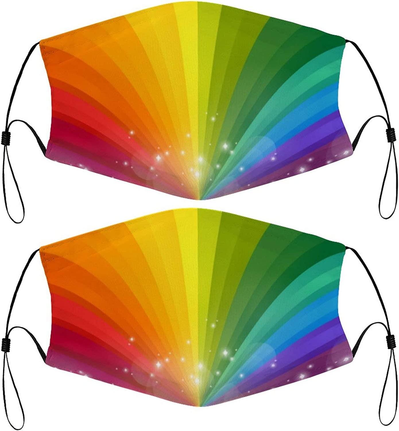 Strips Rainbow Kids Face Masks Set of 2 with 4 Filters Washable Reusable Breathable Black Cloth Bandanas Scarf for Unisex Boys Girls