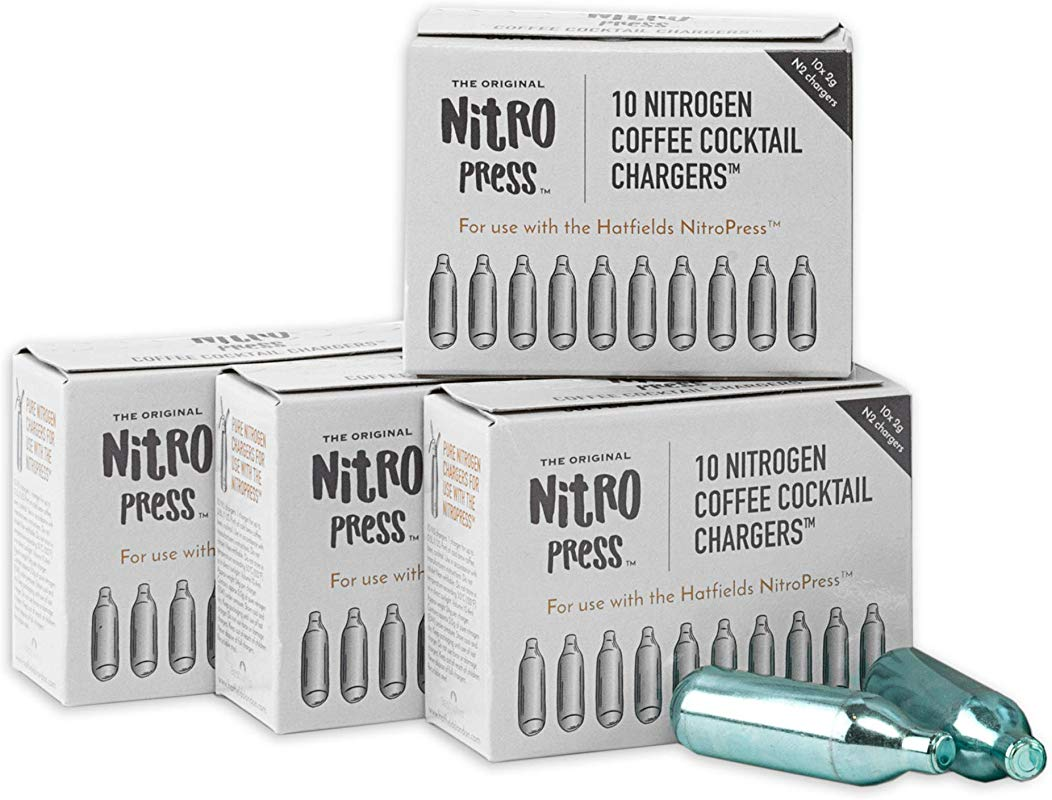 NitroPress Coffee Cocktail Chargers Use With NitroPress Instant Nitrogen Diffuser 40 Cartridges