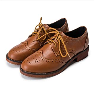 College Style Damesschoenen, Flat-Bottomed Student Lace-Up Gesneden Oxford Brogues, Dames Flat-Bottom Shoes Comfortabele K...