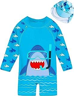 Amaone Baby Girls Boy Swimming Costume for 0-18 Months Short Sleeve Cartoon Pattern Swimsuit Rash Guard One Piece Newborn Unisex Swimwear with Zipper for Pool Beach Seaside