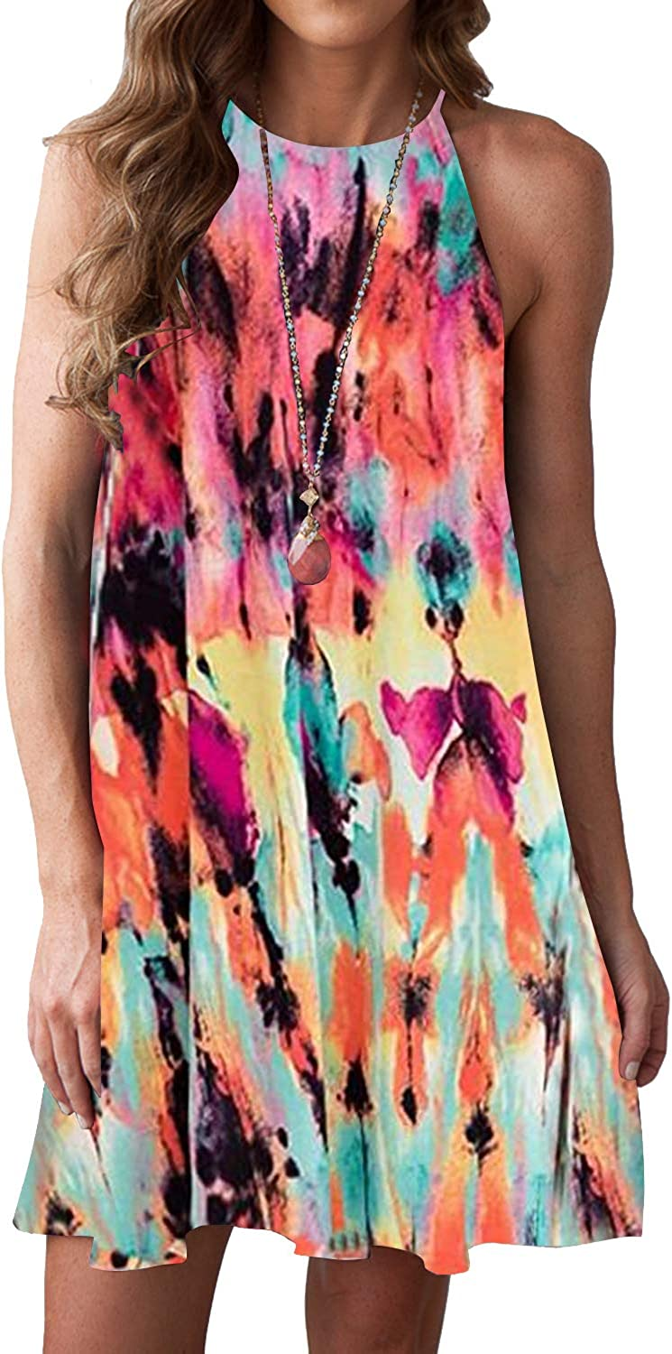 MITILLY Women's Manufacturer direct delivery Halter Neck Boho Loose Sleev Casual Floral Washington Mall Print