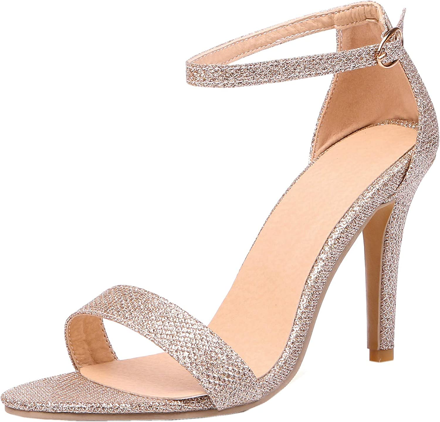 Rongzhi Womens Ankle Strap Buckle Heeled Sandals Pumps Stilettos Dress Party Wedding High Heels shoes gold