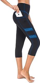 Zinmore Women's Capri Yoga Pants Mesh Workout Leggings Exercise Pants Active Tights Running Pants