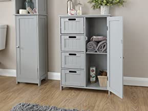Home Source Colonial 4 Drawer 1 Door Chest of Drawers Multi Storage Tong & Groove - Grey