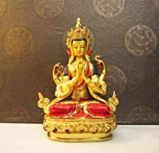 Statue Ornaments Copper Gilded Temple Painted Carry Home Vehicle Gilt Four-Armed Statue Buddha