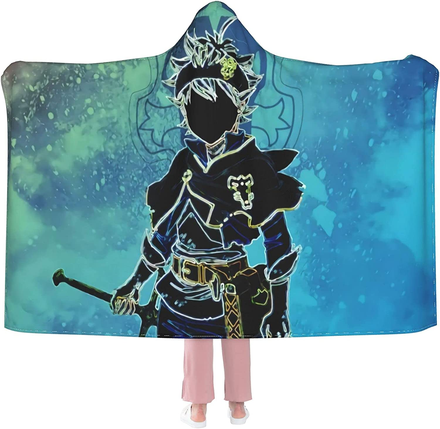 Black Clover Asta Hooded Blanket Wearable Max 85% OFF Tulsa Mall Anti-Pilling Flannel