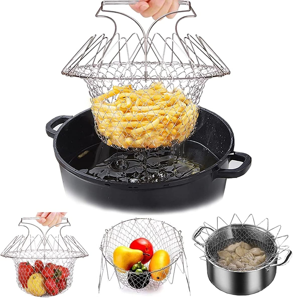 KOUZZINA Multi-Function Stainless SteelFoldable Fry Basket   Chef Basket   Poaching Boiling Deep Frying Basket   Fruit Vegetable Rinsing Washing...