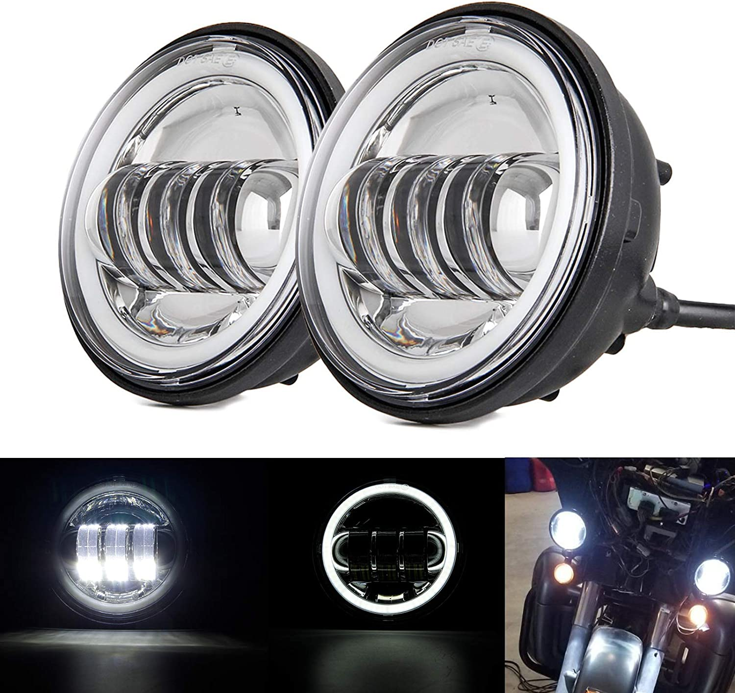 Autokun 4.5 Inch Led Fog Lights with White Halo Ring Angel Eyes 1 Pair 4.5 Passing Lamps DRL bulb for Har-ley David-son Daymarker Harley Fog Lamp