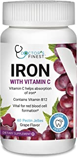 Doctors Finest Iron with Vitamin C & B12 Gummies – Vegetarian, GMO Free & Gluten Free – Tooth Friendly – Great Tasting Gra...