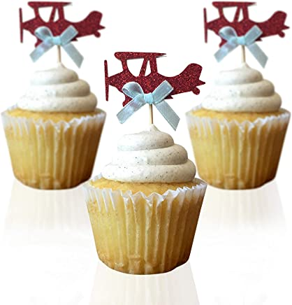 Airplane cupcake toppers - double sided for 1st birthday party boy baby shower cake decorations graduation anniversary wedding child bake events red glitter vintage planes unisex toy fiesta 10 CT