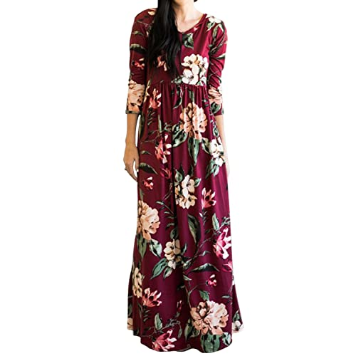 688e98cff3cae MITILLY Women's Floral Print 3/4 Sleeve Pockets Casual Swing Pleated Long  Maxi Dress