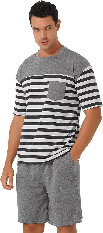 JEATHA Sleepwear Men's Pajama Set Short Sleeve Sleep Top and Pj Shorts Set Soft Loungewear