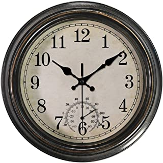 12 Inch Vintage Wall Clock with Thermometer,Battery Operated Waterproof Silent Decorative Clock for Bathroom/Kitchen/Bedroom,Bronze