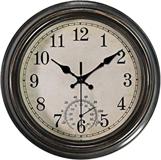 12 Inch Wall Clock with Thermometer,Battery Operated Waterproof Indoor/Outdoor Clock for Bathroom/Kitchen/Bedroom,Bronze