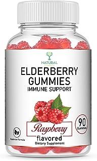 Raspberry Elderberry Gummies Immune Support Supplement + Vitamin C & Zinc | 90 Count, 100mg | Vegetarian Formula | Sambucu...