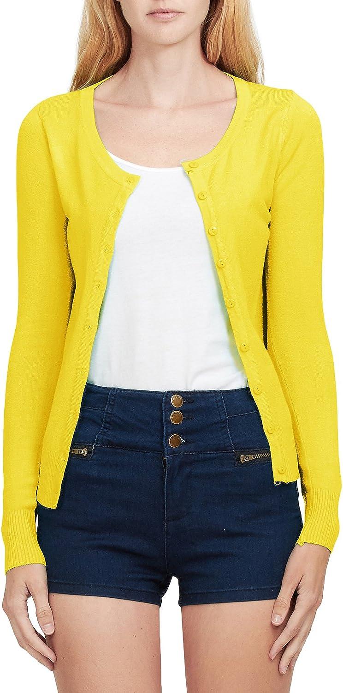 LE3NO Womens Basic Round Neck Fine Knit Cardigan