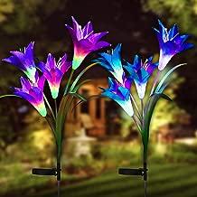 Digiroot 防水户外太阳能花园桩灯,2 只装太阳能装饰灯,带 8 盏百合花灯,多色变色 LED 太阳能灯适用于花园、露台、露台(紫色/白色)