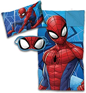 Jay Franco Marvel Spiderman 3 Piece Sleepover Set - Cozy & Warm Kids Slumber Bag with Pillow & Eye Mask (Official Marvel Product)