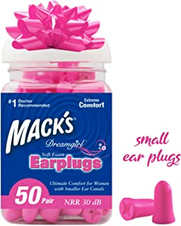 Mack's Dreamgirl Soft Foam Earplugs, 50 Pair, Pink - Small Ear Plugs for Sleeping, Snoring, Studying, Loud Events, Traveling & Concerts