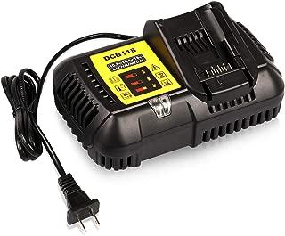 [Updated]Energy tech 10.8V 14.4V 20V Fast Battery Charger DCB118 4.5A, Fit for Dewalt Lithium-Ion Battery DCB205 DCB206 DCB203BT DCB204BT DCB127, Replace DCB101 DCB102 DCB112 DCB115