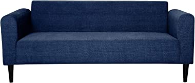 Russet Furnichill Apache Florence 3 Seater Sofa (Deep Blue Fabric with Dark Walnut Polish)