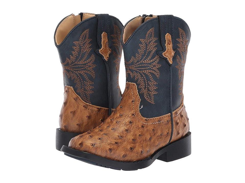 Roper Kids Cowboy Cool (Toddler) (Tan Faux Ostrich Vamp/Navy Shaft) Cowboy Boots