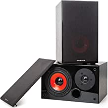 Deco Home DHPAS100 Passive 140W Bookshelf Speaker Set, 5-inch Woofer with Dome Tweeter, Modern Dark Wood Finish with Red W...