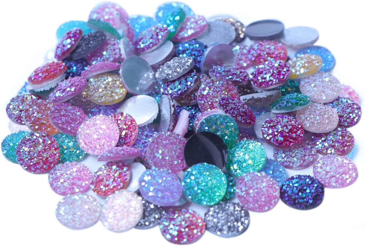 12mm Pink Glitter Ore Round Flat Back Resin Druzy Cabochons DIY Jewelry Set of 10