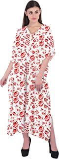 RADANYA Women's 3/4 Sleeve Caftan Floral Print Cotton Maxi Kaftan Dress