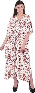 RADANYA Women's 3/4 Sleeve Caftan Floral Print Cotton Maxi Kaftan Dress