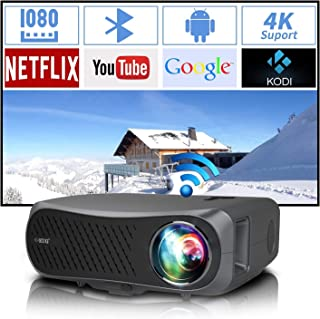 UHD 1920*1080P Dual WiFi Projector 4K Supported, 7200Lux Android Bluetooth Projector for Home, Business, Outdoor, Wireless...
